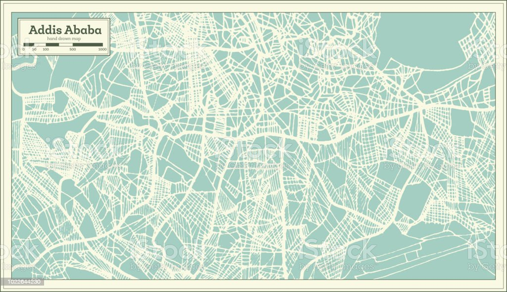 Addis Ababa Ethiopia City Map In Retro Style Outline Map Stock ...