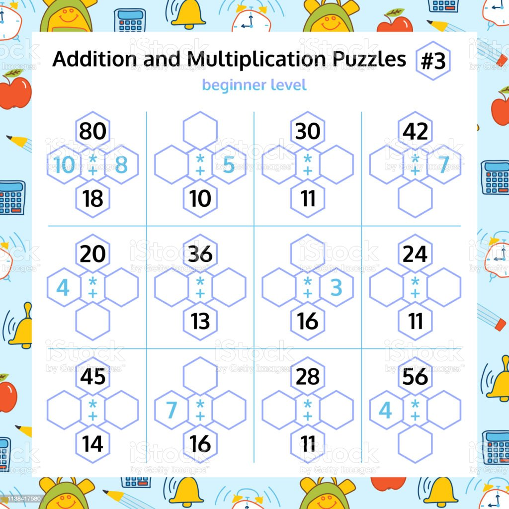 Addition And Multiplication Math Puzzle Set Mathematical