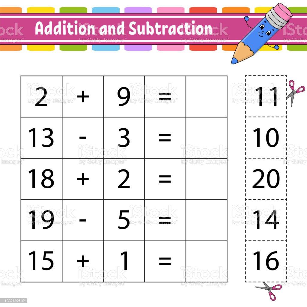 Addition Und Subtraktion Aufgabe Für Kinder Ausschneiden Und ...