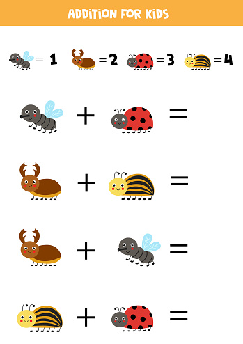 Addition for kids with cute cartoon insects.
