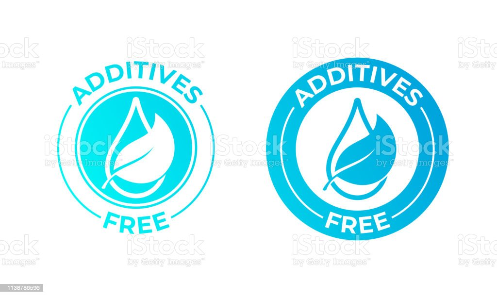 Additives free vector leaf and drop icon. Natural food package stamp,...