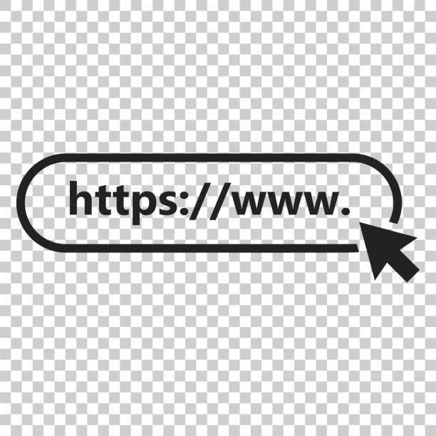 stockillustraties, clipart, cartoons en iconen met adres en navigatie balk icoon. vectorillustratie op geïsoleerde transparante achtergrond. business concept zoek www https pictogram. - schakel