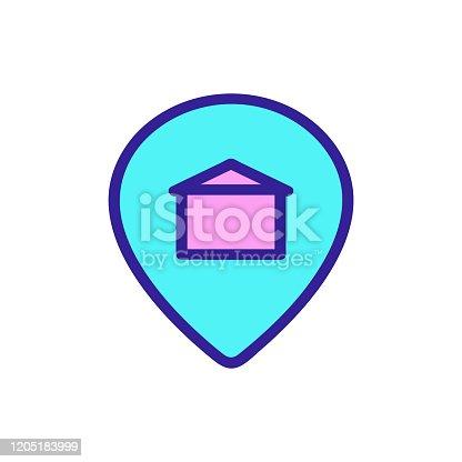 istock Address apartment icon vector. Isolated contour symbol illustration 1205183999