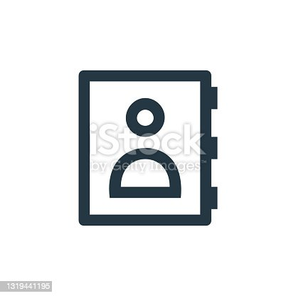 istock address book icon vector from business and management concept. Thin line illustration of address book editable stroke. address book linear sign for use on web and mobile apps, logo, print media.. 1319441195
