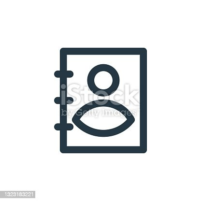 istock address book icon vector from user interface concept. Thin line illustration of address book editable stroke. address book linear sign for use on web and mobile apps, logo, print media.. 1323183221