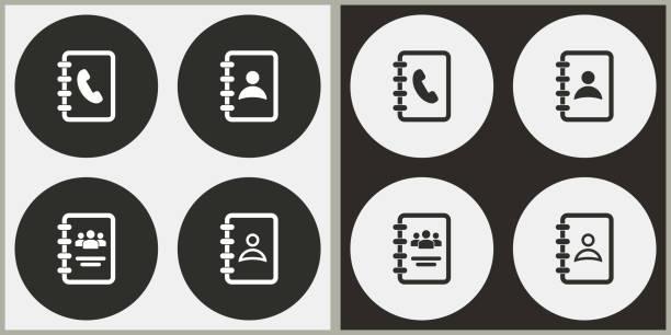 ilustraciones, imágenes clip art, dibujos animados e iconos de stock de libreta de direcciones - icono de vectores. - lentes contacto