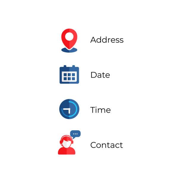 ikony wektorowe ikony adresu, daty i godziny - czas stock illustrations