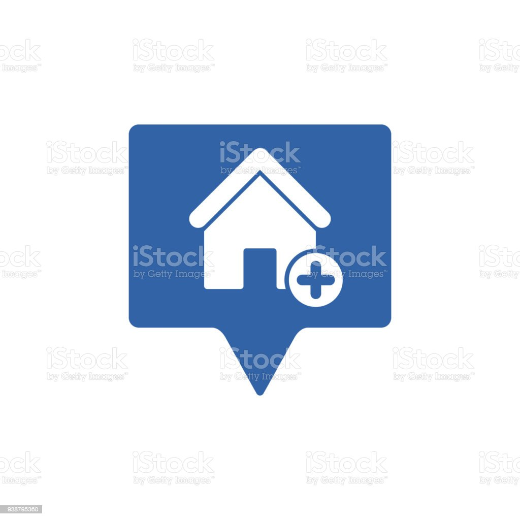 Address icon with add sign. Address icon and new, plus, positive symbol vector art illustration