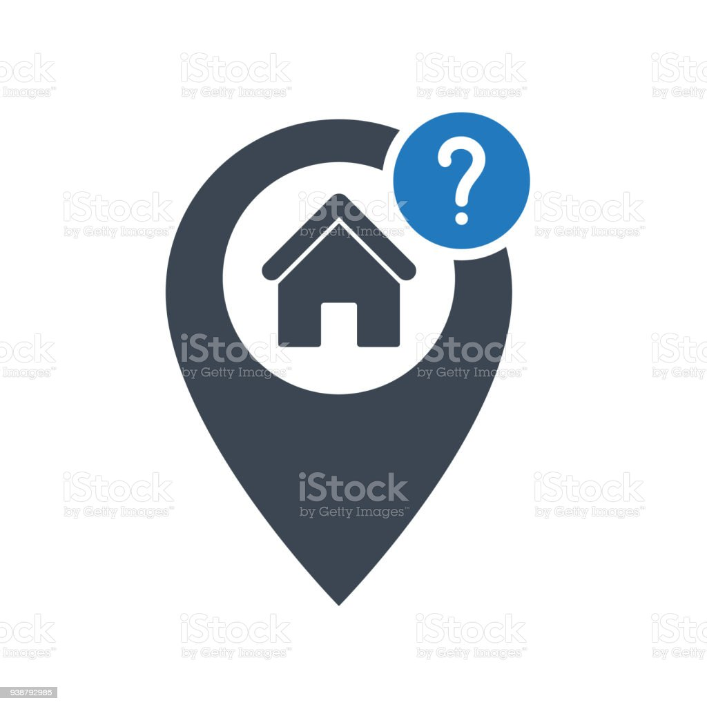 Address icon with question mark. Address icon and help, how to, info, query symbol vector art illustration