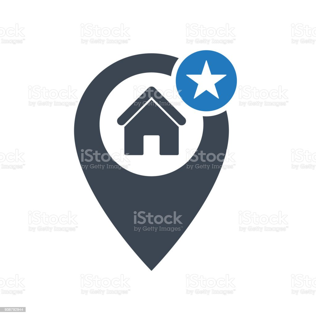 Address icon with star sign. Address icon and best, favorite, rating symbol vector art illustration