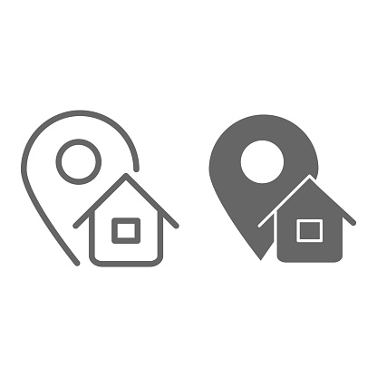 Address line and solid icon, logistics symbol, Map pointer with house vector sign on white background, home address location icon in outline style for mobile concept and web design. Vector graphics.