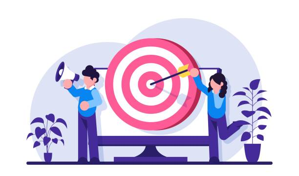 addressable advertising concept. male and female marketers advertise a product or service. arrow-struck target on the monitor screen. modern flat illustration. - addressable stock illustrations