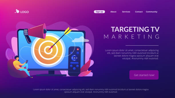 addressable tv advertising concept landing page. - addressable stock illustrations