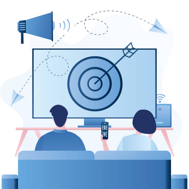 addressable tv advertising, new advertising technology with big loudspeaker - addressable stock illustrations