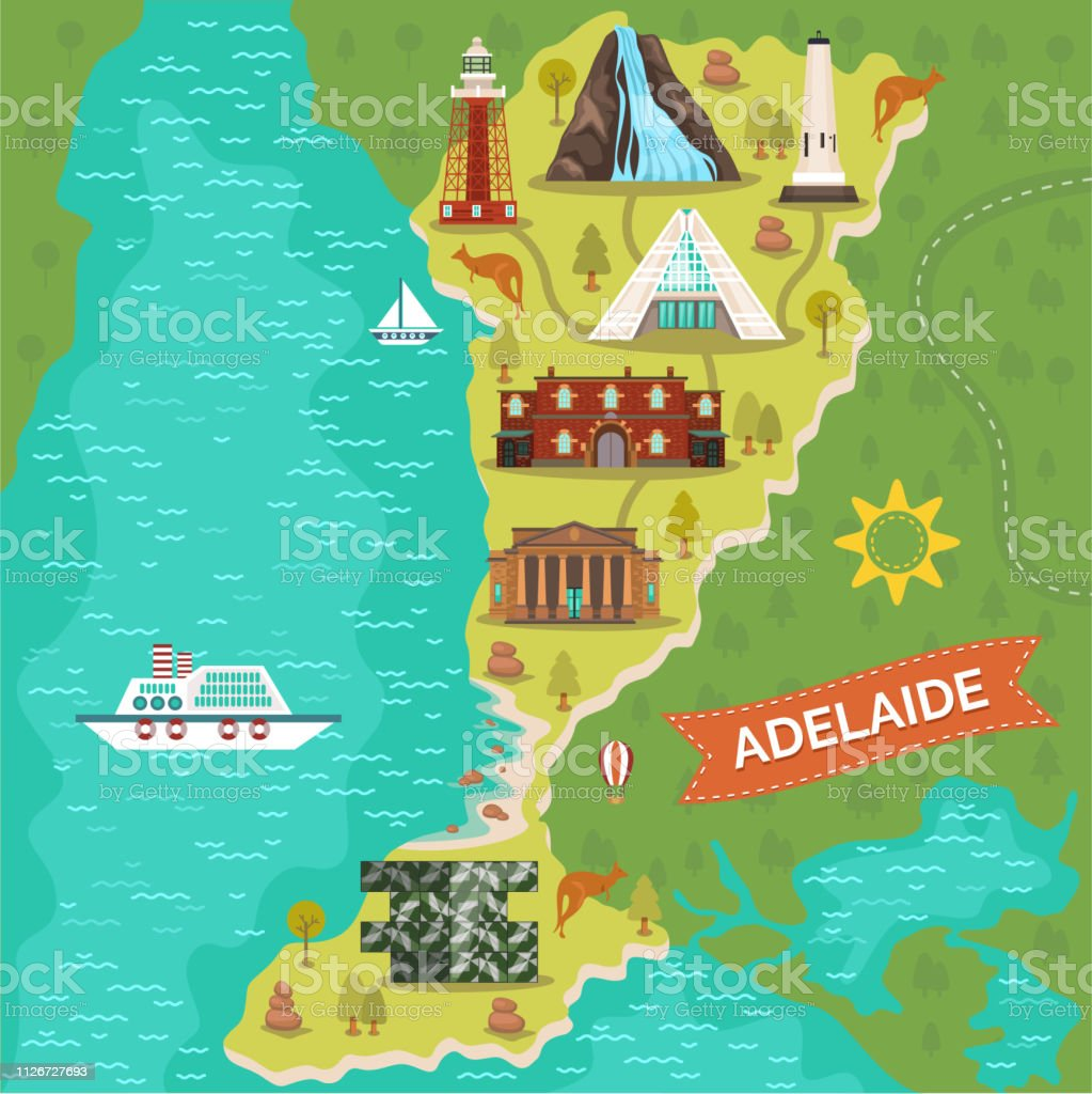 Australia Map Landmarks.Adelaide Landmarks On Travel Map Australian City Stock Illustration