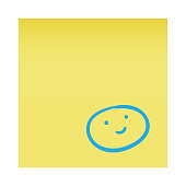 Vector illustration of an adhesive note with a pencil drawing of a smiling emoji on it