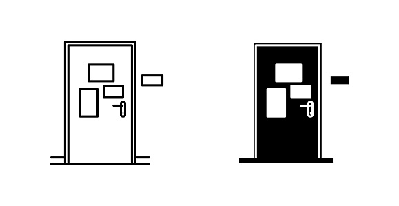 Adhesive notes on a door icon