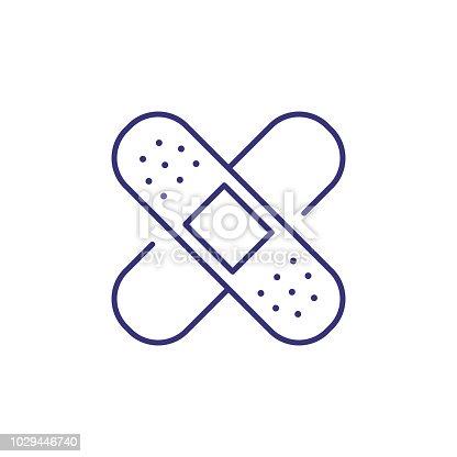 istock Adhesive plaster line icon 1029446740