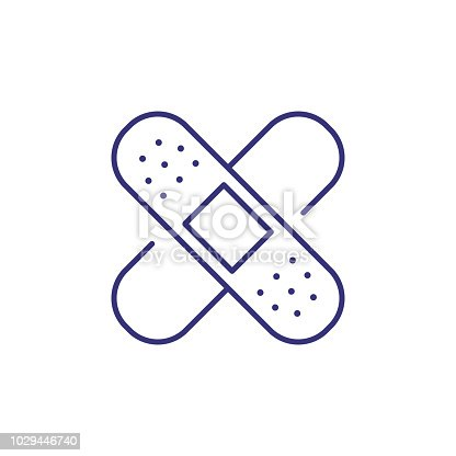 Adhesive plaster line icon. Injury, traumatology, first aid. Medicine concept. Vector illustration can be used for topics like healthcare, pharmacy, medical care