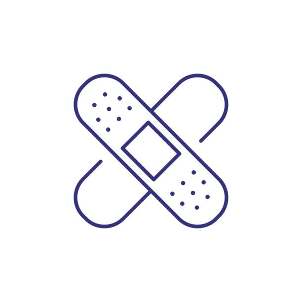 Adhesive plaster line icon Adhesive plaster line icon. Injury, traumatology, first aid. Medicine concept. Vector illustration can be used for topics like healthcare, pharmacy, medical care adhesive bandage stock illustrations