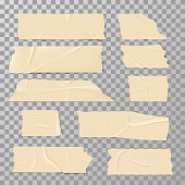 Adhesive sticky tape isolated on transparent background vector set. Adhesive tape ripped, illustration of piece paper