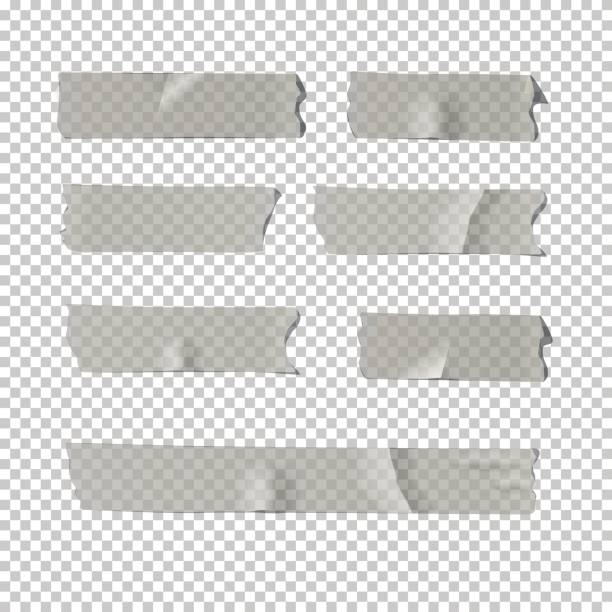 Adhesive tape set isolated on transparent background. Vector realistic element. vector art illustration