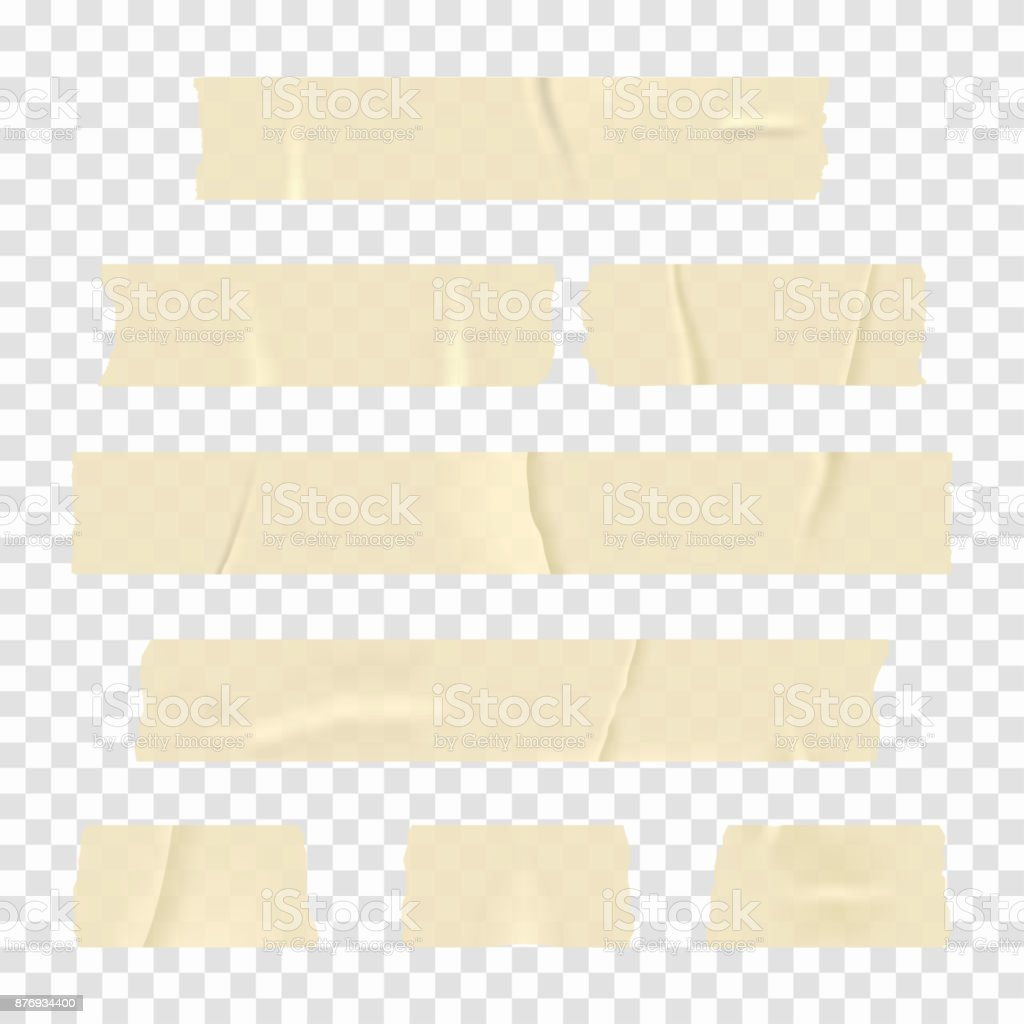 Adhesive Tape Set Of Realistic Sticky Tape Stripes Isolated On Transparent Background Stock Illustration Download Image Now
