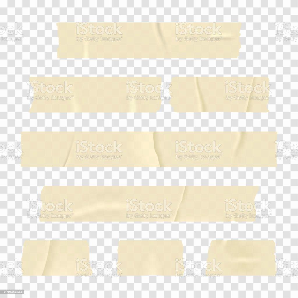 Klebeband. Satz von realistischen Klebeband Streifen auf transparenten Hintergrund isoliert – Vektorgrafik