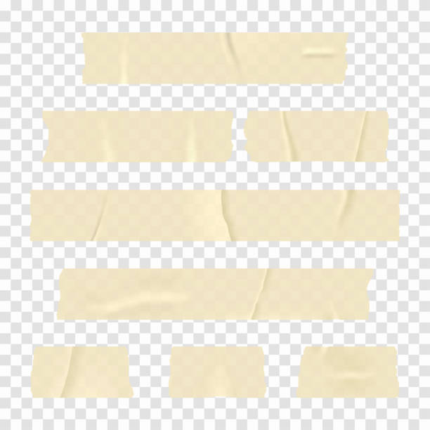 Adhesive tape. Set of realistic sticky tape stripes isolated on transparent background vector art illustration