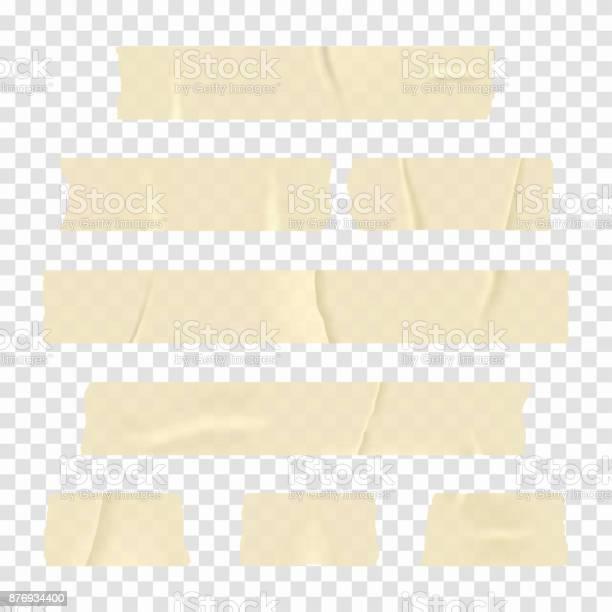Adhesive Tape Set Of Realistic Sticky Tape Stripes Isolated On Transparent Background - Arte vetorial de stock e mais imagens de Antigo