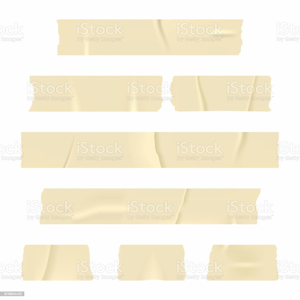 Adhesive tape. Set of realistic sticky tape stripes isolated on white background vector art illustration