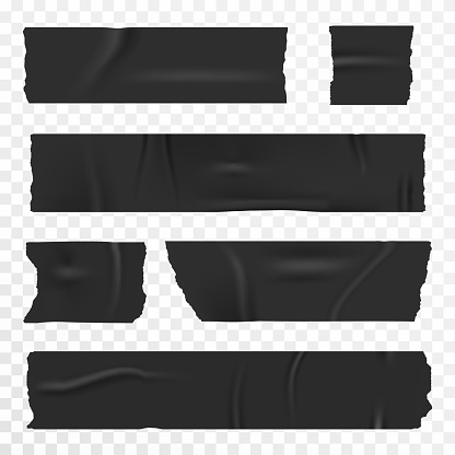 Adhesive tape set on transparent background. Realistic duct tape, scotch stripes