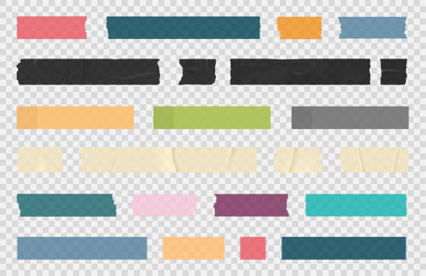 Adhesive tape, sticky paper stripes. Colorful stripes and pieces of duct paper, scotch or washi paper. Transparent duct tape in different shapes Adhesive tape, sticky paper stripes. Colorful stripes and pieces of duct paper, scotch or washi paper. Transparent duct tape in different shapes. Vector label stock illustrations