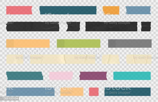 Adhesive Tape Sticky Paper Stripes Colorful Stripes And Pieces Of Duct Paper Scotch Or Washi Paper Transparent Duct Tape In Different Shapes - Arte vetorial de stock e mais imagens de Abstrato