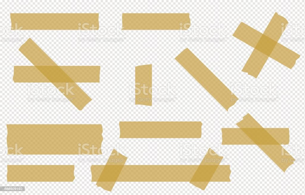 Adhesive Tape Transparent Pieces Vector Set Stock Vector