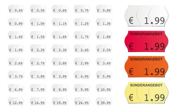 adhesive vector price tags - przywieszka z ceną stock illustrations