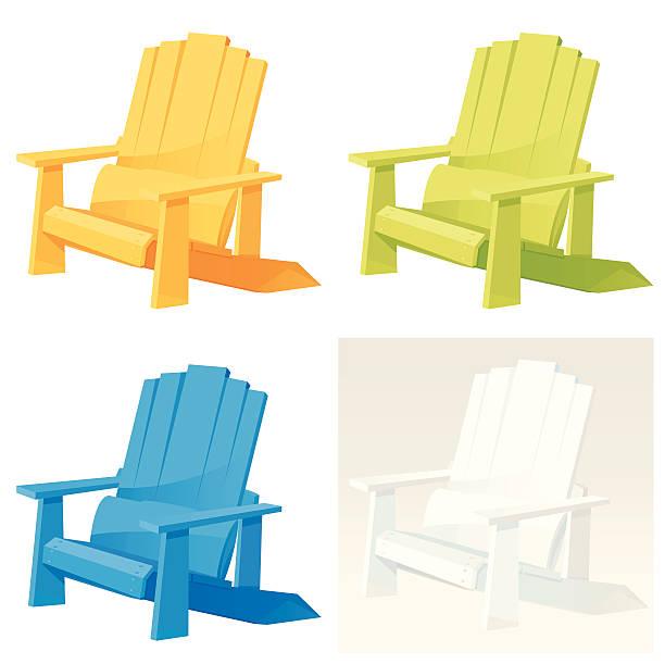 Adirondack Armchair Set of colorful Adirondack (Muskoka) Armchair. Vector. adirondack chair stock illustrations