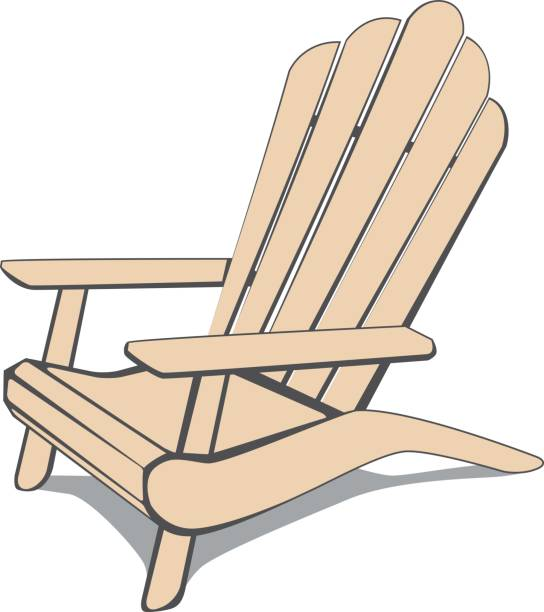 Adirondack beach chair Beige Adirondack Beach chair. Vector illustration. adirondack chair stock illustrations