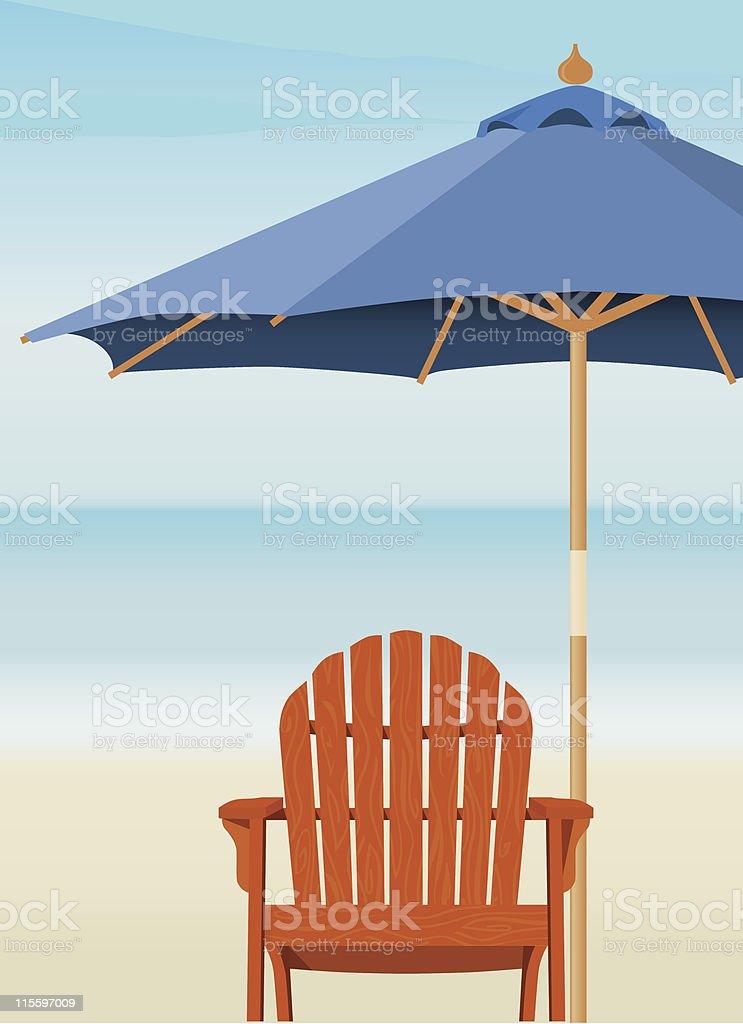 Adirondack Chair at Beach vector art illustration