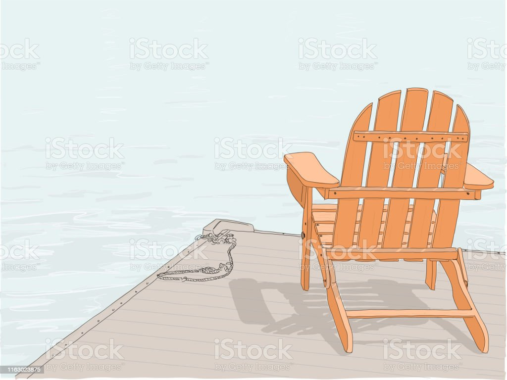 Adirondack Chair Drawing Color Stock Illustration - Download ...