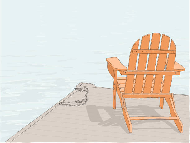 Adirondack chair drawing color Hand drawn illustration. An Adirondack chair sitting on a dock by a lake. Concept of a peaceful, relaxing vacation. adirondack chair stock illustrations