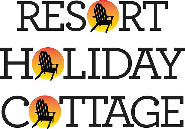 Adirondack Chair Holiday Graphics Vector illustrations of holiday, vacation, resort, cottage words with adirondack, muskoka, beach chair and setting sun. muskoka stock illustrations