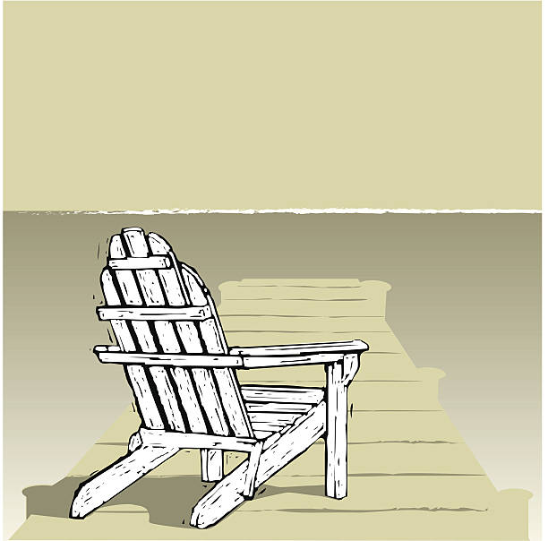 Adirondack Chair on a Dock Adirondack chair in the sun, done in a linocut or woodcut style. AI CS2 + large JPEG included in ZIP. adirondack chair stock illustrations