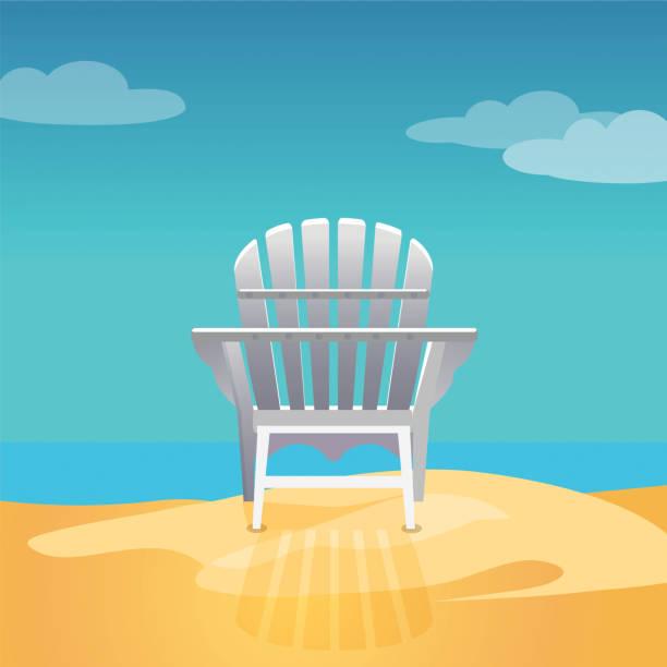 Adirondack chair on the sea beach standing on yellow sand Adirondack chair on the sea beach standing on the yellow sand under the blue cloudy sky, Vector flat illustration adirondack chair stock illustrations
