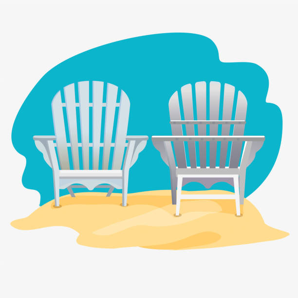 Adirondack chair standing on the yellow sand Adirondack chair standing on the yellow sand under the blue sky, Vector flat illustration adirondack chair stock illustrations