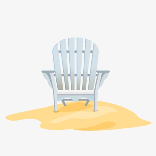 Adirondack chair standing on the yellow sand Adirondack chair standing on the yellow sand, Vector flat illustration adirondack chair stock illustrations