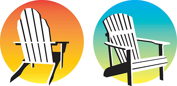 Adirondack Chair Sunset Graphics Vector illustrations of two different adirondack, muskoka, beach chairs and setting suns. outdoor chair stock illustrations