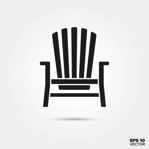 Adirondack chair vector icon Adirondack deck chair vector icon. Summer vacation and seaside resort symbol. outdoor chair stock illustrations