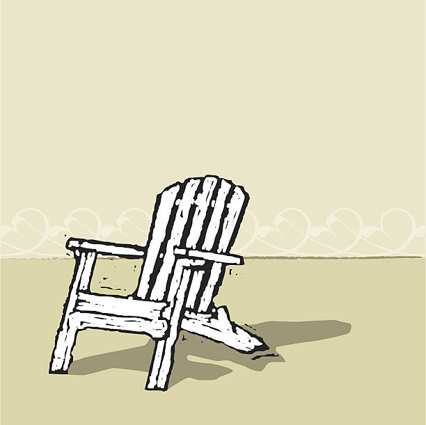 Adirondack Chair Traditional Adirondack style chair, done in a linocut or woodcut style. Bit of ornamental ocean waves in the background. AI CS2 file, plus large JPEG included in ZIP. adirondack chair stock illustrations