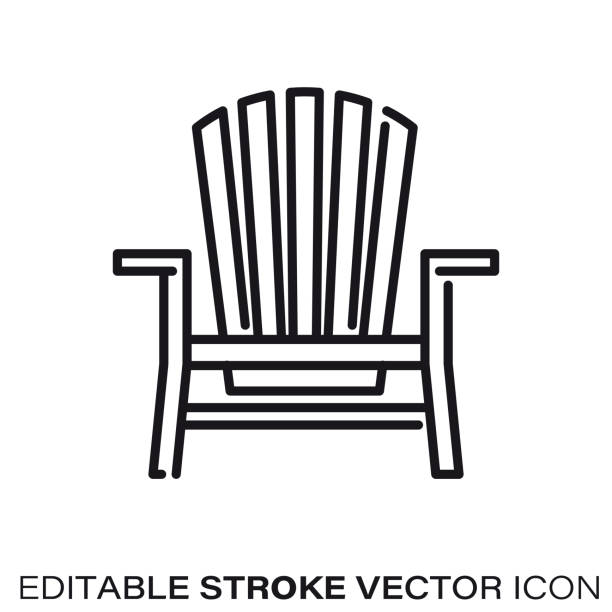 Adirondack chair vector line icon Adirondack chair line icon. Outline symbol of outdoor furniture and seaside. Editable stroke flat vector illustration. adirondack chair stock illustrations